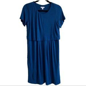 J. Jill Blue Button Back Layered Seaside Dress